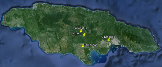 Locations of the sugar estates visited
