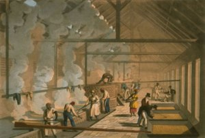 Interior of an Antiguan sugar boiling house, by William Clark, London 1823 (British Library)